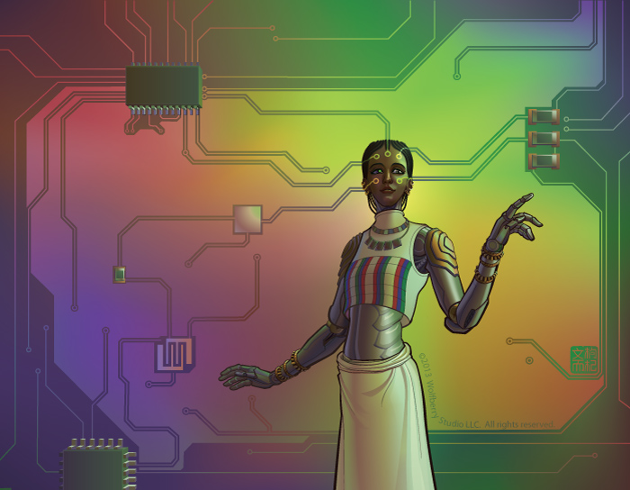 female robot standing in front of circuit board